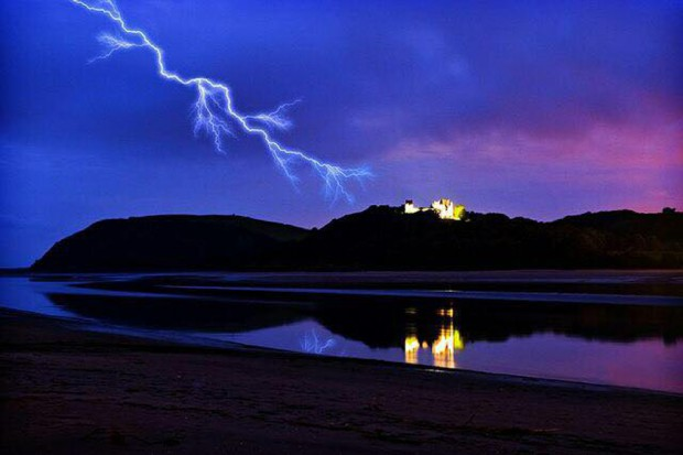 castle and lightning
